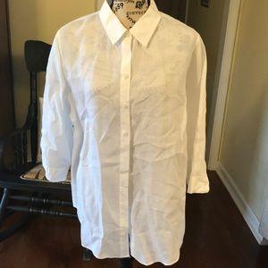 Chico's No Iron White Linen Long Shirt